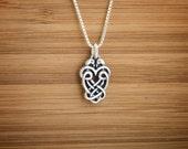 Little Celtic Lovebirds - STERLING SILVER - (Charm, Necklace or Earrings)