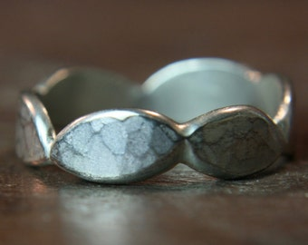 "Recycled sterling silver shaped ""Crown"" wedding ring. Hammered Finish. In Stock. Size O 1/2"