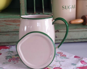 RARE Enamelware ~ Cream & Green ~ Pitcher~ With Lid/Cover ~ Hard to Find