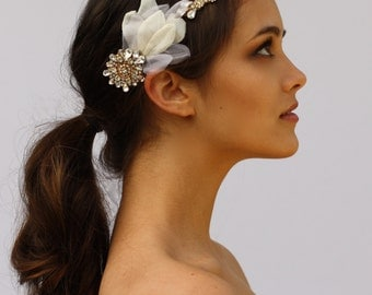 Crystal Headband with Petal Accents- The Rebecca