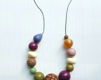RESERVED - reworked private eye necklace, vintage lucite beads