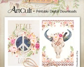 Printable BOHO CHIC greeting cards downloadable art Digital Collage Sheet shabby flowers, feathers, bull skull scrapbooking paper ArtCult