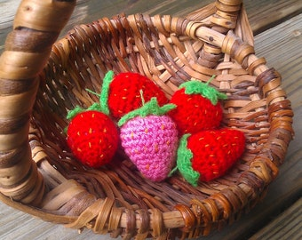 Crochet Strawberry - play food - play fruit - toy strawberry - amigurumi strawberry - crochet fruit - toy food - toy fruit ornament