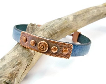 Leather Bracelet,  Copper and Leather Bracelet, Turquoise Blue Bracelet, Denim Blue Leather, Gift for Her, Mother's Day