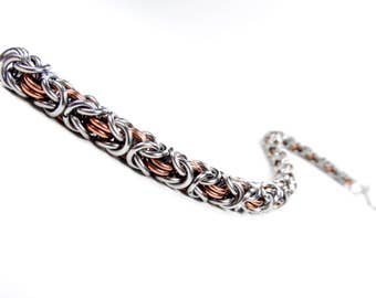 Byzantine Chainmaille Bracelet - Stainless Steel & Copper