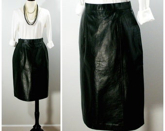 Vintage Leather Skirt, 80s Black Leather Pencil Skirt, Knee Length Wilsons Black Leather Pencil Skirt, Fitted Black Leather Skirt Size 12