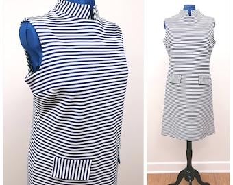 Vintage Stripe Dress, 60s Navy Blue and White Striped Sleeveless Scooter Dress by Bodin Knits, MOD 60s Dress Size Extra Large XL