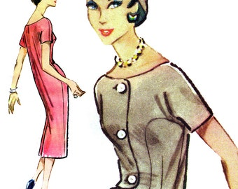 """Tailored, Elegant '50s Dress! Vintage ©1958 McCall's Sewing Pattern 4519, Misses' Dress """"Mademoiselle Editors' Choice,"""" Size 12, Uncut w/ FF"""