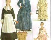Girls Colonial Early American Pilgrim Gown Sewing Pattern Halloween Costume Simplicity 3725 Children Size 7 8 10 12 Bust 26 27 28.5 30
