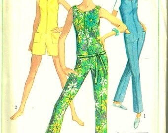 Sleeveless Jumpsuit Front Zippered Sewing Pattern Low Round Neckline Simplicity 7133 Vintage 1960s Misses Size 10 14 Bust 31 34