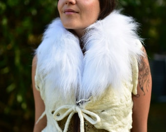 Felt Fur Vest-Goddess Of The Snow Animals Costume-Woodland Vest-Primitive Clothing-Tribal Vest-Faux Fur Collar-Faux Fur Vest-Mini BoleroOOAK
