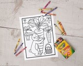 Easter Bunny printable coloring page coloring sheet activity Easter bunny hugging giant carrot instant download print at home