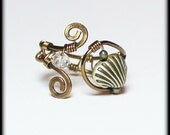 Seashell... Handmade Jewelry Ring Beaded Wirework Wire Wrapped Sea Shell Beach Ocean Antique Brass Champagne Crystal Adjustable Size 6-7