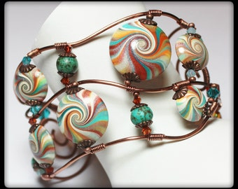 Desert Dusk... Handmade Art Jewelry Cuff Bracelet Beaded Wire Wrapped Wire Crystal Gemstone Antique Copper Turquoise Aqua Teal Terra Cotta