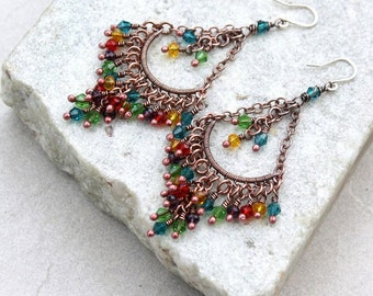 Colorful Multicolor Chandelier  Earrings, Wire Wrapped, Boho, Canada, Handmade, Oxidized Copper, STERLING SILVER EARWIRES