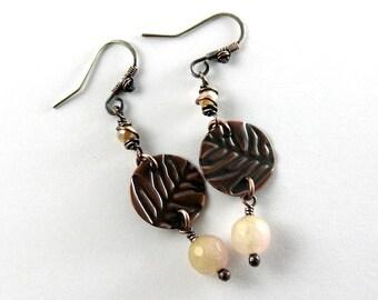 Light Pink Leaf Metalwork Earrings, Metal Earrings, Embosshed Texture, Pink, Handcrafted, Dark Antique Copper, STERLING SILVER EARWIRES