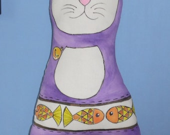 Kitty, Quirky, Handmade, Hand Painted Decorative Cat Cushion