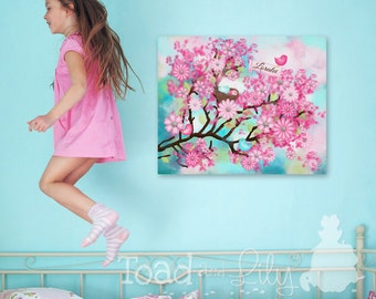 Personalized Cherry Blossom Birdie Pink and Aqua Stretched Canvas Children's Bedroom Wall Art CS0006
