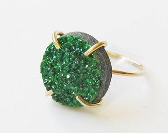 SALE Green Uvarovite Druzy Gold Ring OOAK