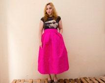 Hot Pink Maxi Skirt, Fuschia Statement Skirt Silk Shantung Long Evening Pleats Pockets, Prom Skirt, Customize color and length, Plus sizes