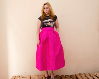 Hot pink maxi skirt – Etsy