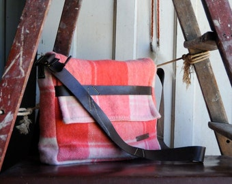 Repurposed Blanket Unisex Music Satchel in Watermelon w Dark Brown Kangaroo Leather features