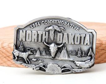 Rare Vintage 1984 Commemorative North Dakota Duck Deer Fish Belt Buckle