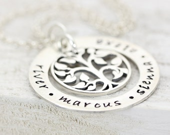 Family Tree | Personalized Name Necklace | Handmade Hand Stamped Jewelry | Mom Grandma Daughter Jewelry | Christina Guenther