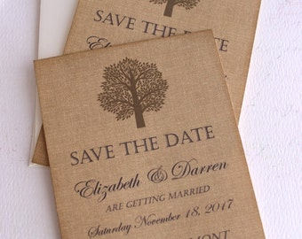 Elegant Vintage Burlap Save the Date Cards with Rustic Tree Handmade by avintageobsession on etsy