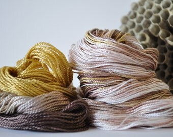 Smokey Quartz - SET of Hand Dyed Perle Cotton Thread Size 5 and 12 - Embroidery - Sashiko - Primitive Colors - Wool Embroidery - Variegated