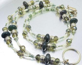 Green Jasper and Topaz Bronze Crystal Glass Beaded ID Lanyard, Badge Holder, ID Necklace
