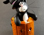 One of a Kind, Witch Cat in Candy Corn Bucket, Polymer Clay Halloween Collectible by The Critter Company, Fall, Autumn, Kitty, OOAK