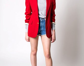 The Vintage Lipstick Red Circketeer Blazer Jacket