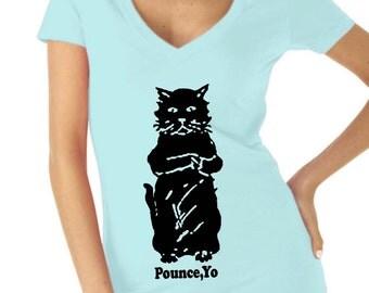 cat - cat shirt - cat tshirt - cat gifts - cat lover gift - cat lady - cat lover - womens tshirts - animal shirt - POUNCE YO - deep v-neck