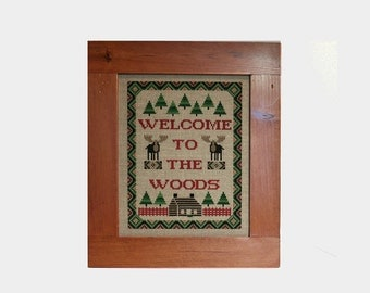 Cross Stitch Framed, Moose Sampler, Rustic Wall Decor, Finished Completed, Something In Common, Cabin Cottage Decor, Welcome to the Woods