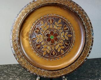 "Wood Plate, Hard Carved Plate, Polish Folk Art, Spoldzielnia 10-1/2""  Copper Inlay, Poland Souvenir, Pyrography Details"