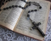 French Black carved wood rosary necklace