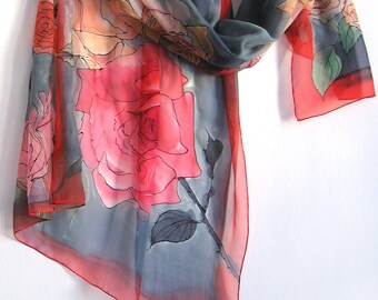 Red Silk chiffon scarf- Roses garden/ Luxury Silk Scarf Handmade/ Lightweight scarf shawl/ Hand painted scarf shawl/ Bridal accessory/