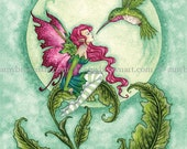 Flirting hummingbird fairy 8X10 PRINT by Amy Brown