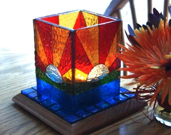 Votive Candle Luminary Mosaic with Handmade Scented Candle