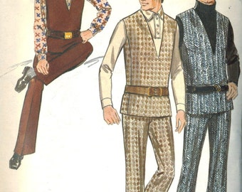 Vintage 70s Butterick 5738 Mens Pullover Vest and Flared Pants Sewing Pattern