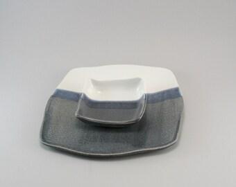 Pottery Appetizer Set - Stoneware - Ceramic Plate - Set of Two- Denim Blue Gray - Classic White