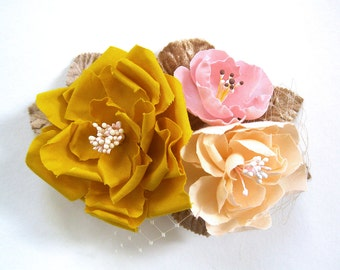 English garden flower comb in pink mustard peach ivory taupe