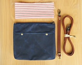 Navy Blue Waxed Canvas Crossbody Purse with Vintage Style Red Ticking Lining and Leather Strap, Navy Messenger Bag, Cross Body Purse, USA