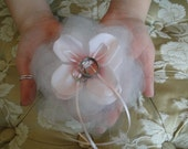 Ring bearer pillow Pink petals and Silk wedding pet canine attendant bridesmaid ring bearer ivory
