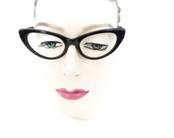 True Vintage NOS 60s Italian Cat Eye Glasses Black Eyeglass Frame Horn Rimmed CatsEyes Sunglasses Vixen ROckabilly Jazzy Hep Cat sale italy