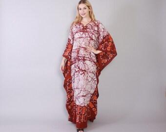 Vintage 60s CAFTAN / 1960s Ethnic Batik Print Bohemian Cotton Maxi Dress