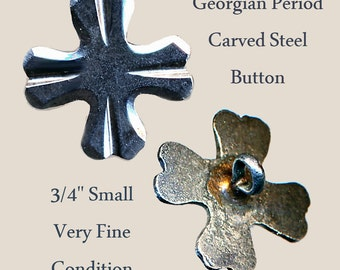 Button--Small Georgian Carved and Polished Steel Cross