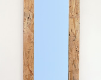 Wood Mirror with Modern Industrial OSB Frame, 18 x 36 Hanging