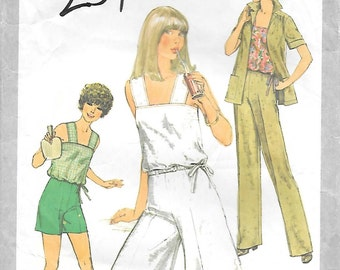 Simplicity 8522 1970s Summer Unlined Jacket Tank Culottes Shorts Vintage Sewing Pattern Size 14 Bust 36